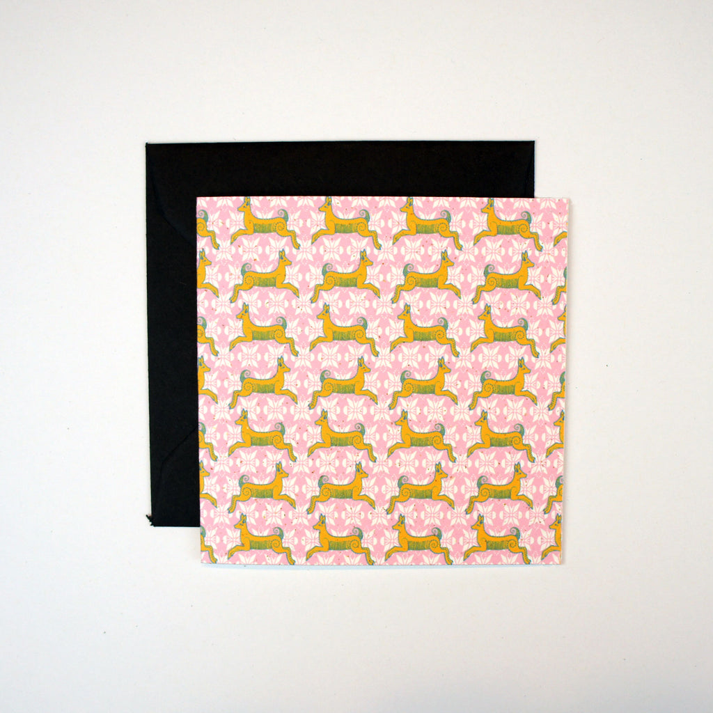 Mustard and Pink Leaping Deer Mini Card