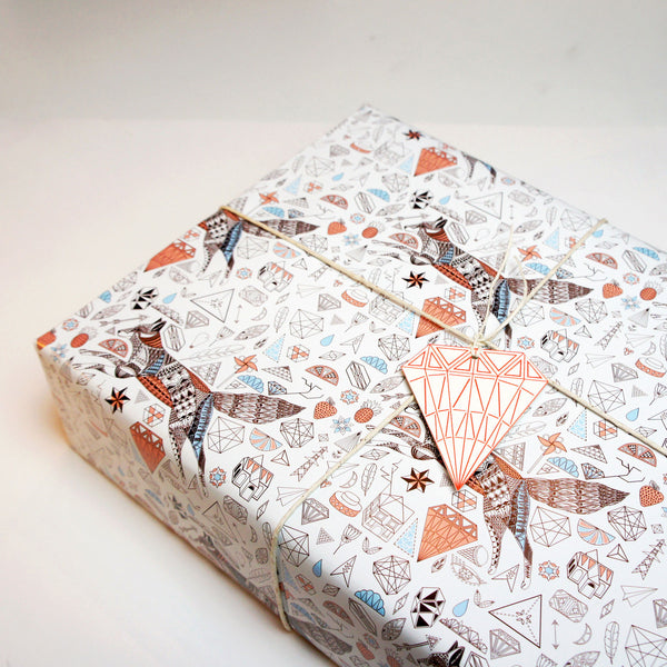 Fox + Diamonds Wrapping Paper