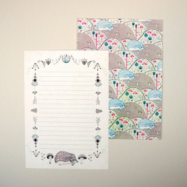 Hedgehogs and Pinecones Letter Writing Set