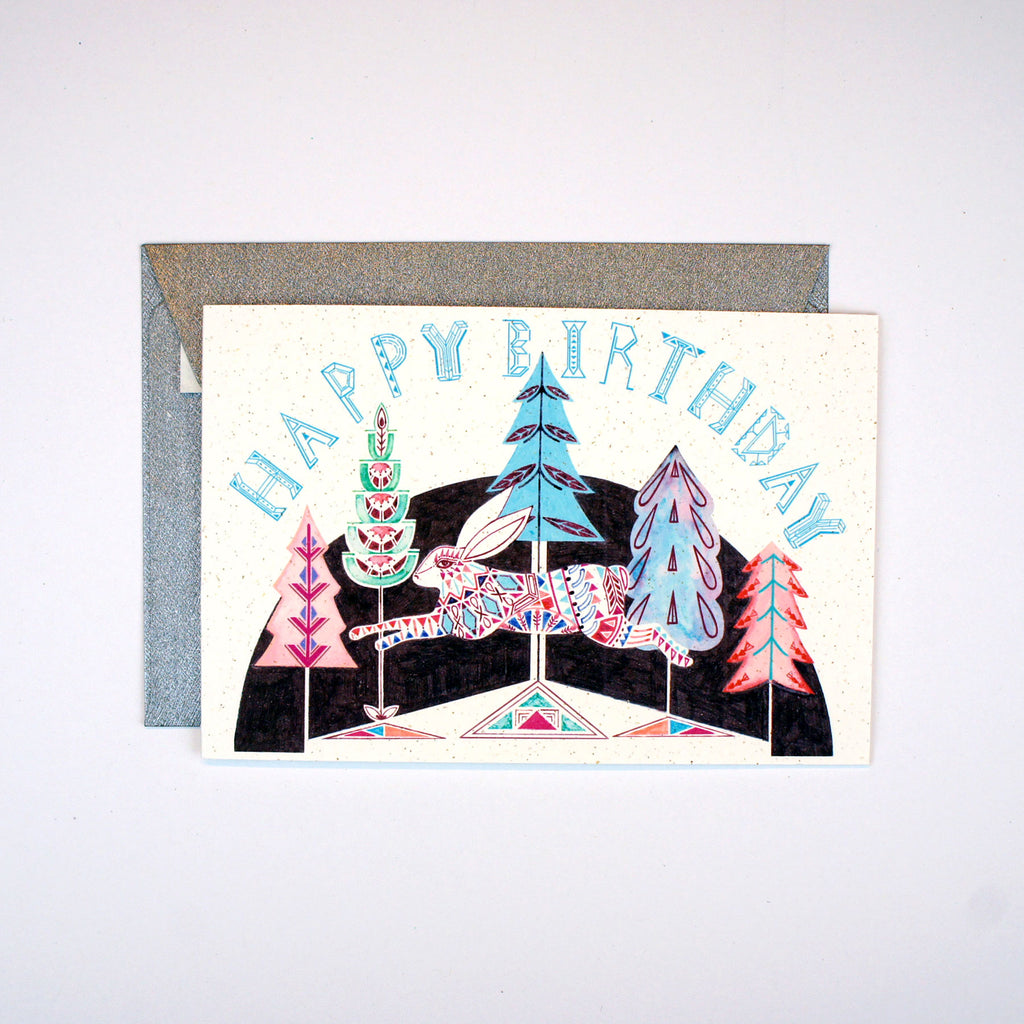 Leaping Rabbit in the Forest Birthday Card