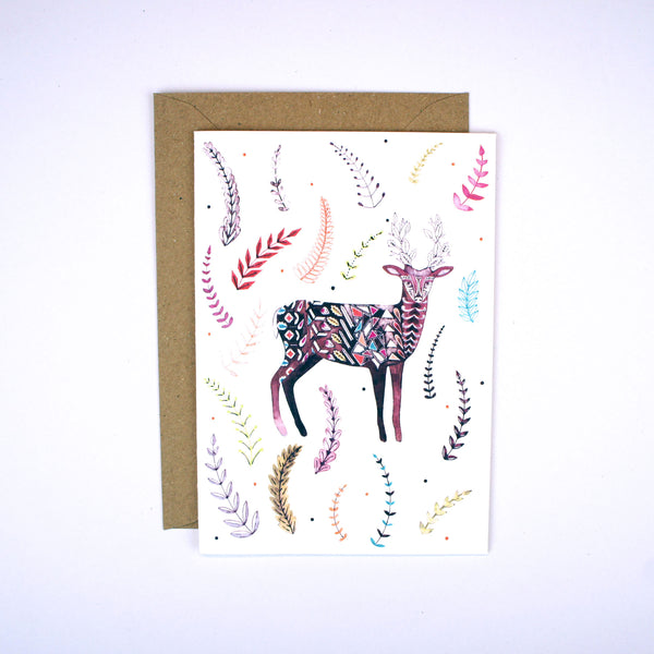 Deer with Flowering Antlers Card