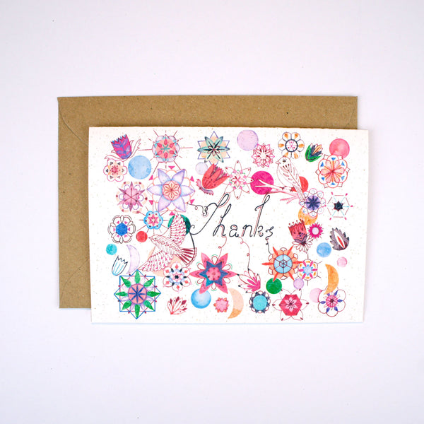 Flowers and Birds Thanks Card