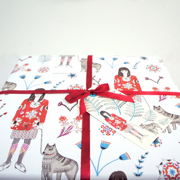 Girl with Husky Wrapping Paper