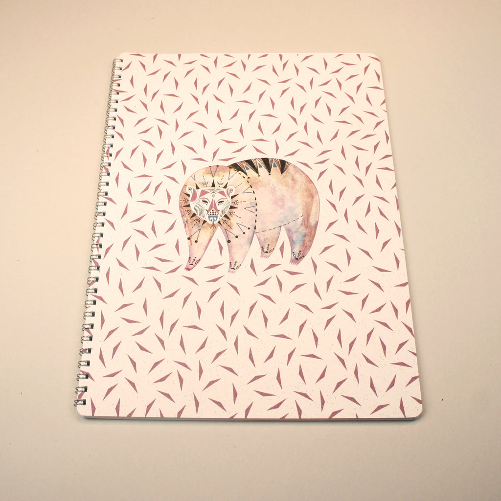 A4 Lined Notebook - Bear + Triangles