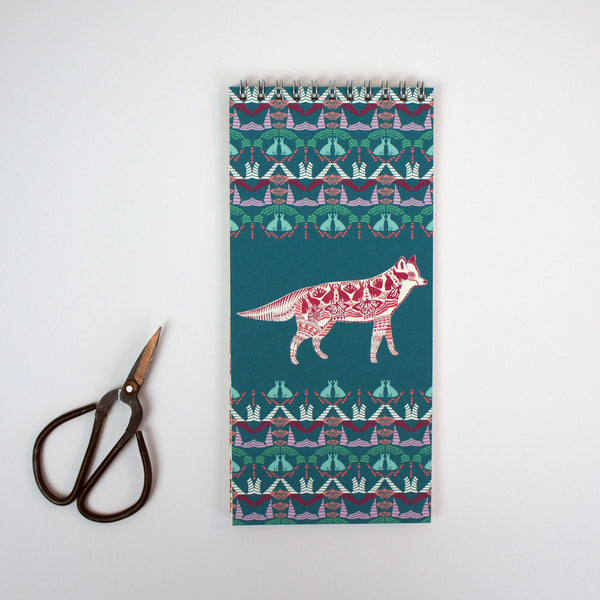 Lined Notepad - Teal Fox