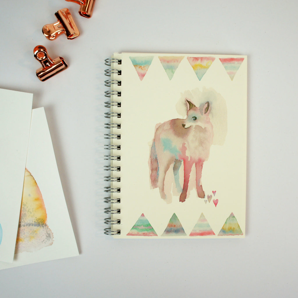 A6 Lined Notebook - Watercolour Fox