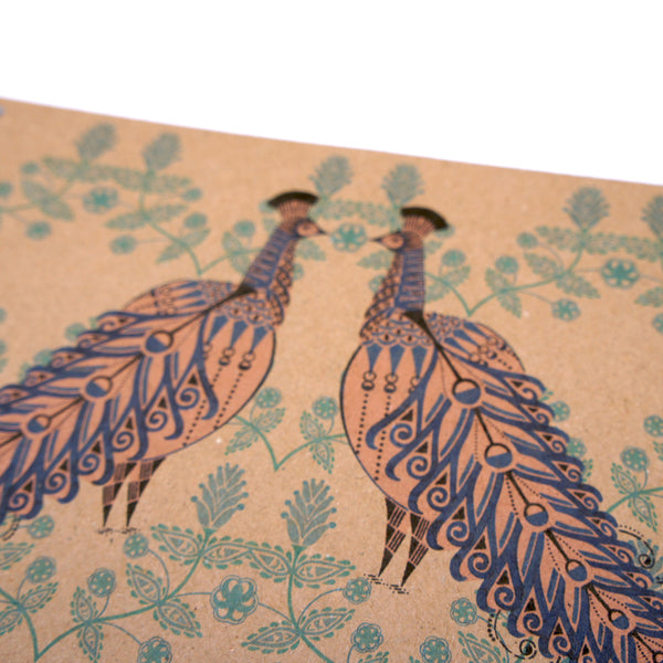 A5 Plain Notebook - Folk Peacock