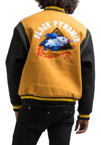 Black Pyramid Rocket Ship Varsity Jacket (YELLOW)