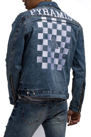 Black Pyramid Checker Denim Jacket