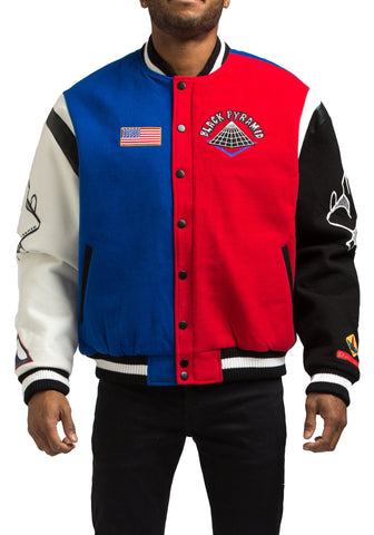 Black Pyramid Spaceship Varsity Jacket