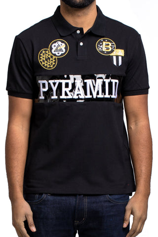 Black Pyramid Checker Gold Patch Polo (BLACK)