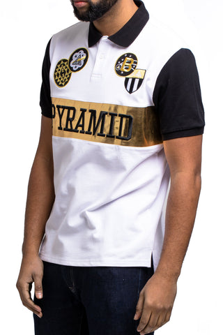Black Pyramid Checker Gold Patch Polo Shirt (WHITE/GOLD)