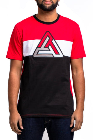 Black Pyramid Colorblock SS Tee (BLACK/RED)