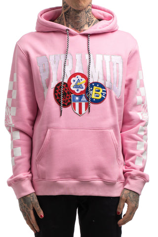 Black Pyramid Checker Patch Hoodie (PINK)