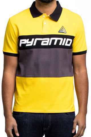 Black Pyramid Color Block Polo SS Shirt (YELLOW)