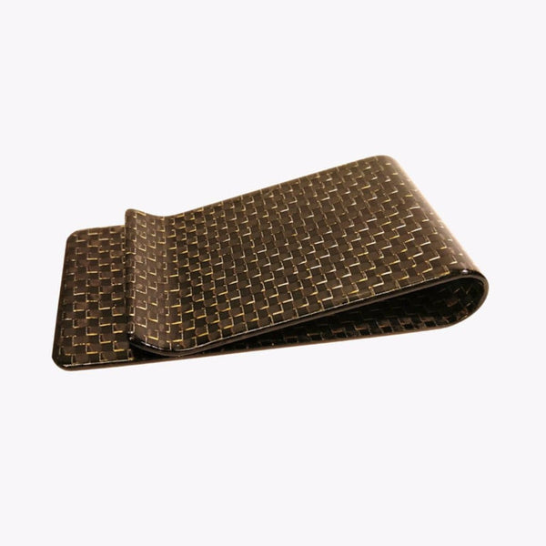 Carbon Fiber Money Clip - Gold