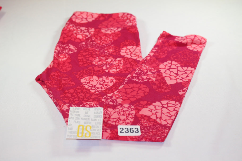 3100b16e055ee LuLaRoe ,OS VALENTINE'S DAY Leggings Red Pink Hearts 2363 - LuLaRoe  Outfitters