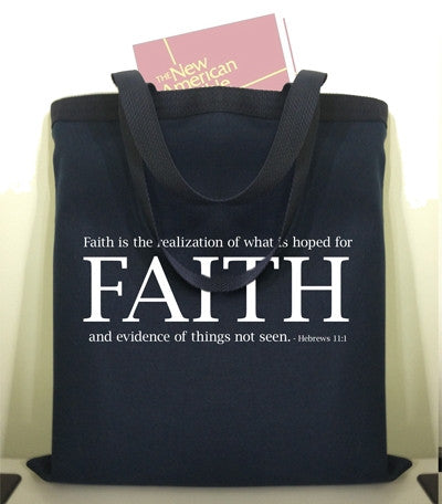 FAITH Navy Canvas Tote Bag