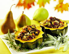 Acorn Squash Stuffed with Wild Rice, Pears, Cranberries, and Walnuts
