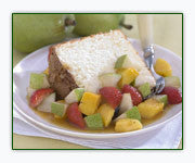Orange Angel Food Cake with Spicy Pear Salsa