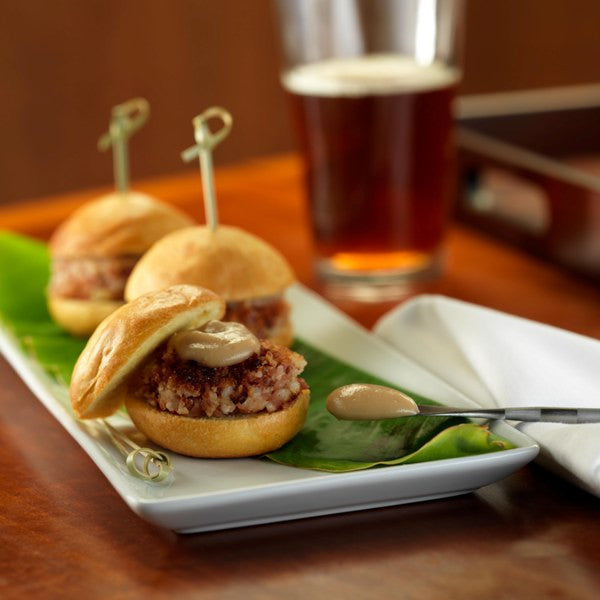 Bacon and Blue Cheese Sliders with Pear Ketchup