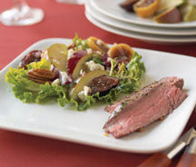 Flank Steak Ribbons with Pear-Fig Salad