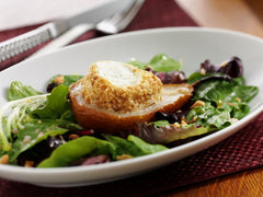 Warm Peanut-Crusted Goat Cheese w/ Roasted Pears & Greens