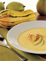 Roasted Pear and Delicata Squash Soup with Parmesan Croutons