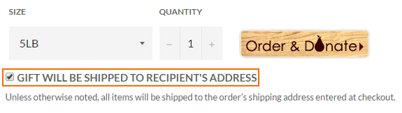 "Check the box labeled ""Gift will be shipped to recipient's address"" to set item-specific shipping info."