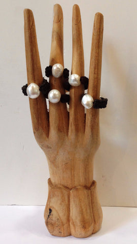 """Klara's Ring"" Freshwater Pearl and Leather Ring - Klara Haloho - 1"