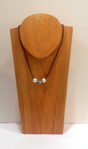 """Triple Scoop"" Sliding Tahitian and Freshwater Pearl Necklace - Klara Haloho - 1"