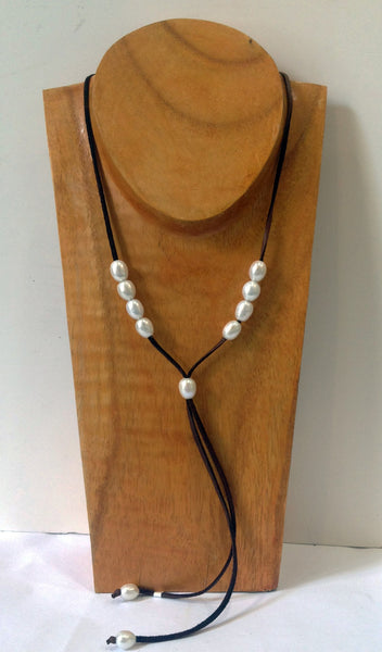 """The Weekender"" Adjustable Freshwater Pearl Necklace - Klara Haloho - 7"
