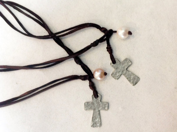 Cross Choker, Freshwater Pearl and Hammered Metal Cross Necklace - Klara Haloho - 2