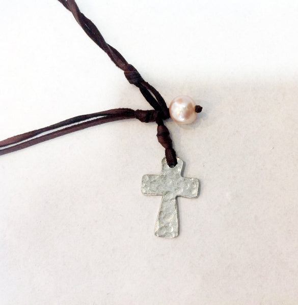 Cross Choker, Freshwater Pearl and Hammered Metal Cross Necklace - Klara Haloho - 3