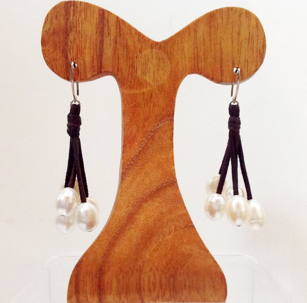 """Little Black Dress"" Freshwater Pearl and Leather Dangling Earrings - Klara Haloho - 1"