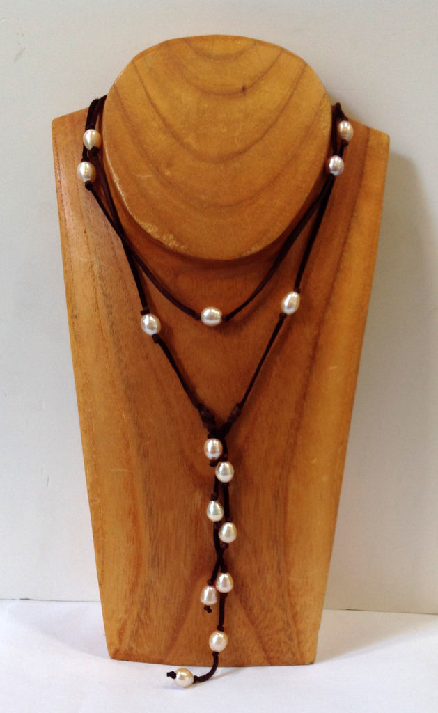 Long Wrap and Lariat Freshwater Pearl Necklace - Klara Haloho - 1