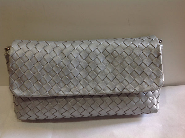 Silver Woven Leather Clutch - Klara Haloho - 1