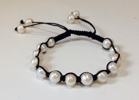 Adjustable Silk and Freshwater Pearl Bracelet - Klara Haloho - 1