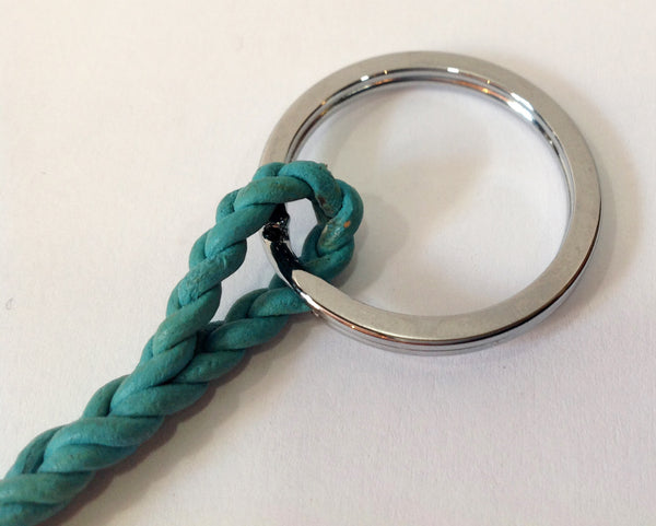 Teal Leather and Freshwater Pearl Keychain - Klara Haloho - 5