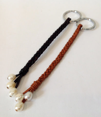 Freshwater Pearl and Leather Keychain - Klara Haloho - 1