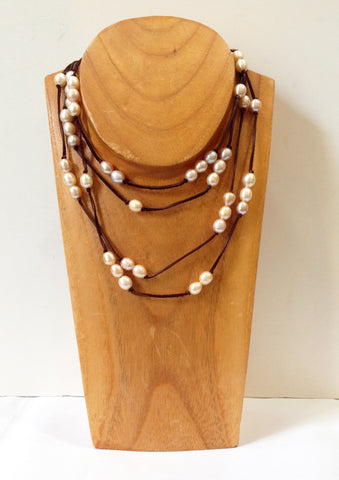 Long Wrap Freshwater Pearl Necklace - Klara Haloho - 1