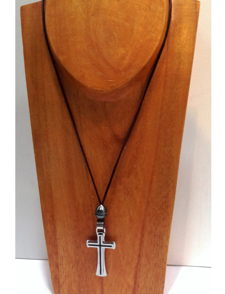 """One Love"" Tahitian Pearl and Stainless Steel Cross Unisex Necklace - Klara Haloho - 1"