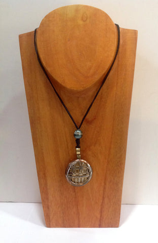 Mixed Metals Medallion and Tahitian Pearl Unisex Necklace - Klara Haloho - 1