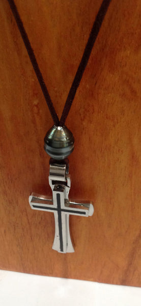 """One Love"" Tahitian Pearl and Stainless Steel Cross Unisex Necklace - Klara Haloho - 2"