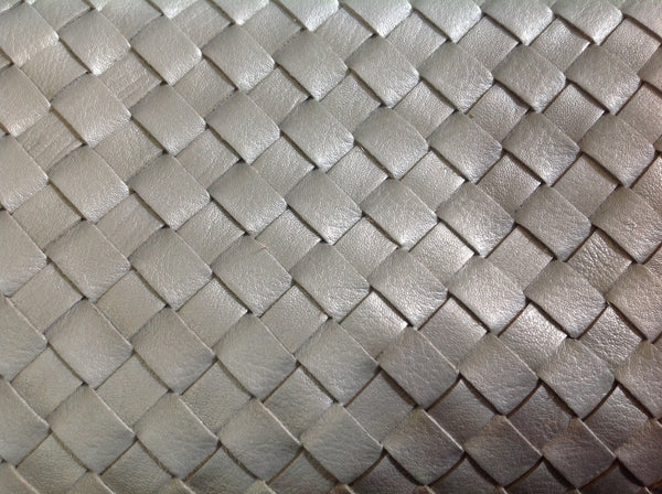 Silver Woven Leather Clutch - Klara Haloho - 4