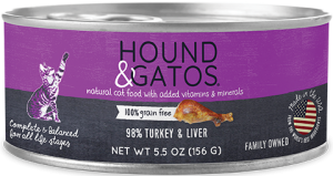 Hound & Gatos 98% Turkey and Turkey Liver Cat Food 5.5oz