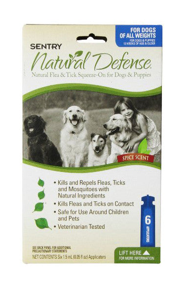 Sentry Natural Defense Flea & Tick Squeeze On for Dogs