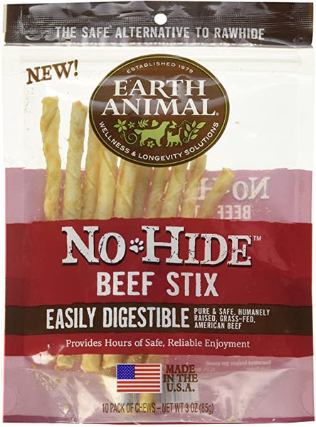 Earth Animal No-Hide Beef Stix 10pk