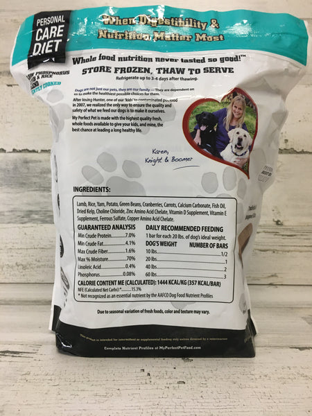 My Perfect Pet Low Phosphorus Lamb & Rice Frozen Dog Food 3.5lb