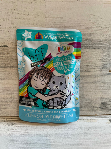 b.f.f. Chicken & Tuna Seeya Sooner Cat Food pouch 2.8oz